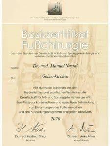 Zertifikat Fußchirurgie G.F.F.C.