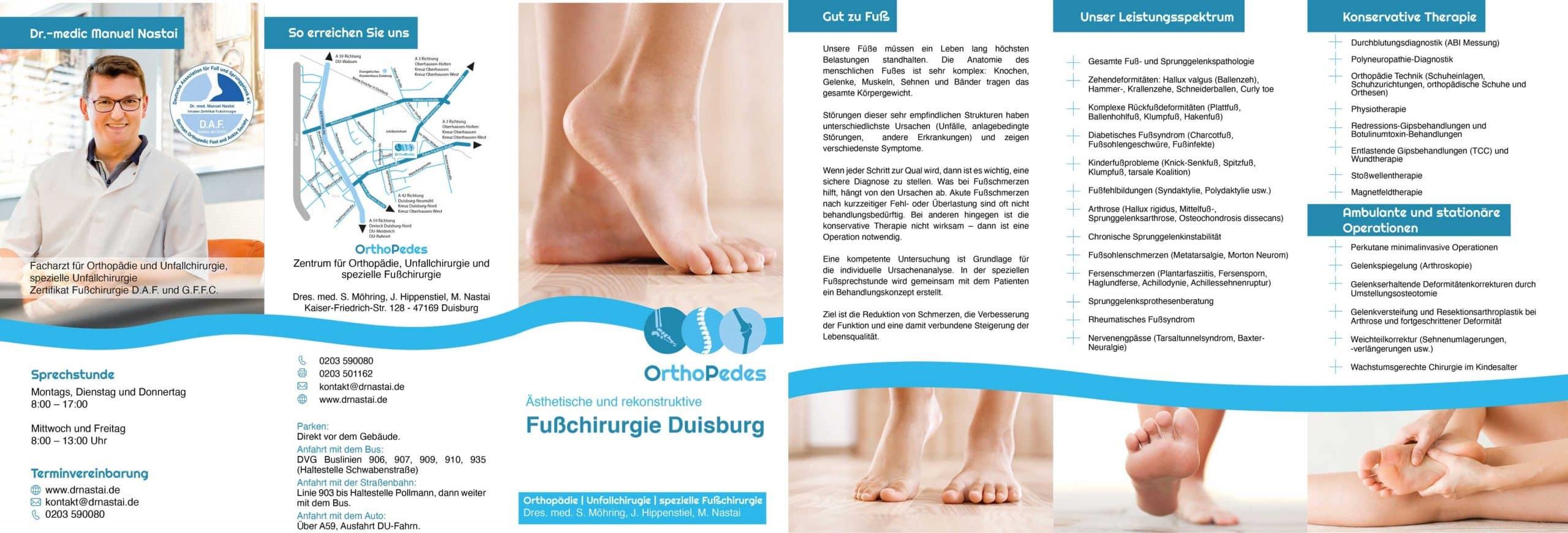 Flyer Fußchirurgie OrthoPedes Duisburg